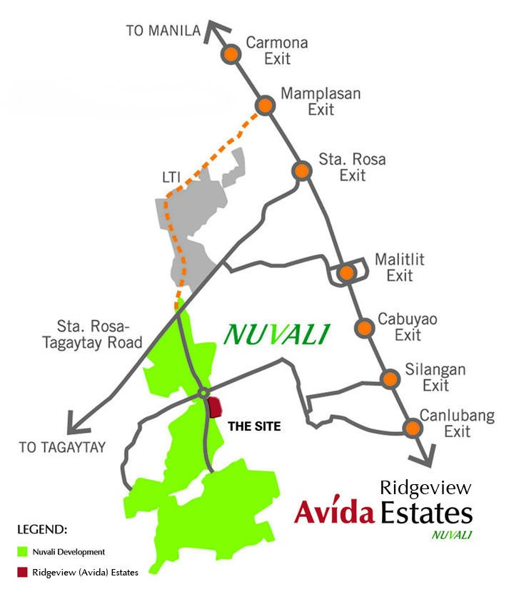 Avida Ridgeview Estates Nuvali - Ayala Nuvali Properties - Location1